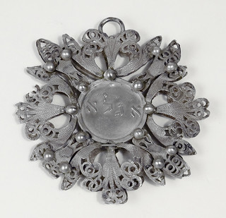 """Amulet [67.1.1.1]: Amulet inscribed with the Hebrew acronyms """"agla"""" and """"shaday"""" (Italy, 18th century"""