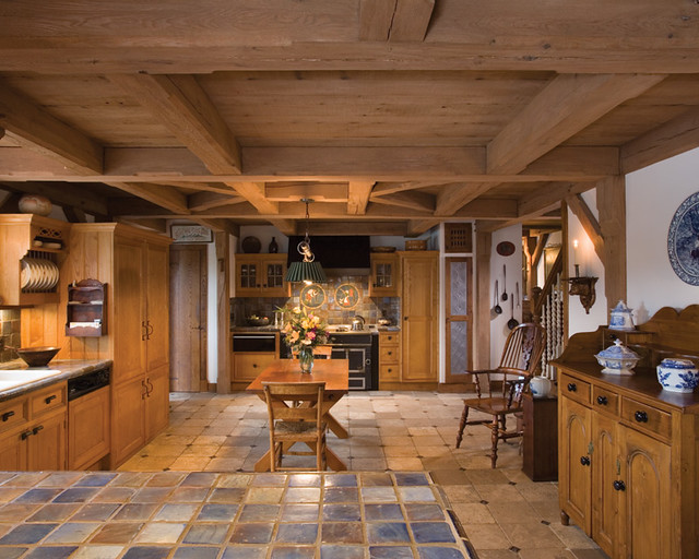 Restored Tradition Timber Frame Home - Kitchen | The kitchen ...