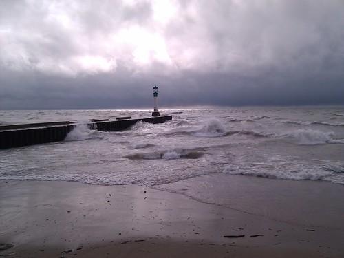 lighthouse lake water pier waves crash huron grandbend