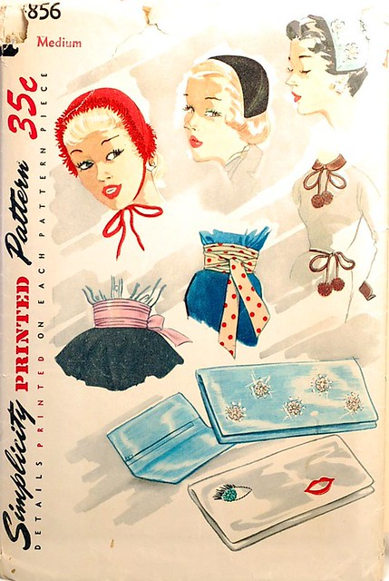 1950s vintage hat and accessories sewing pattern