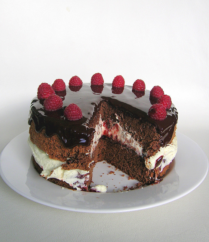 Chocolate Raspberry Cream Cake