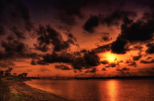 sunset sky nature clouds river landscape nikon explore nikkor frontpage bangladesh chittagong darkphoto nikon1855mm nikond80 potiya kornofuli shikolbahar kornofuli3rdbridge