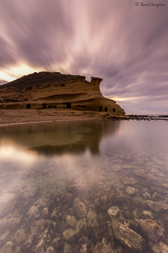 canoneos6d canonef1635mmf4lisusm tripod formatthitechfilters firecrest ndfilter landscape seascape cloudscape clouds waterscape horizon dawn sunrise purple rocks sailors heads mistery calacocedores almería magiclight reflections shadows likeanotherworld