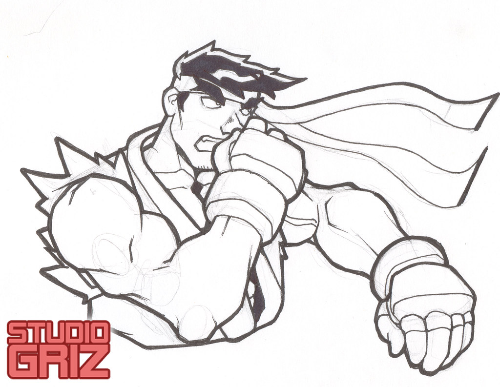 Street Fighter Ii Ryu Lineart Pencil And Inked Piece O Flickr
