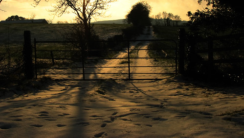 ireland sunset irish snow nature rural landscape countryside gate shadows special lane fields countrylandscapes