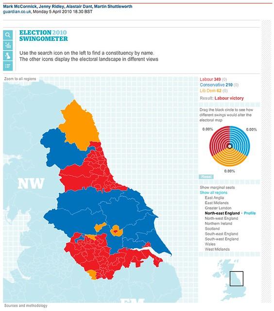 The Guardian Election 2010 map and swingometer   Screenshots