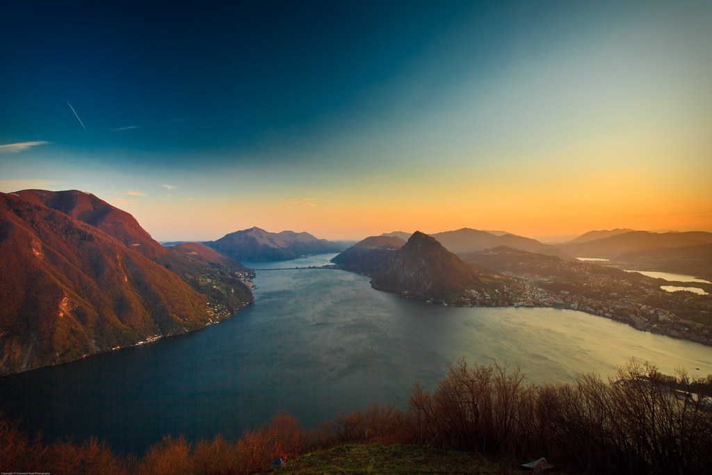 Sunset on Lugano from Monte Bre