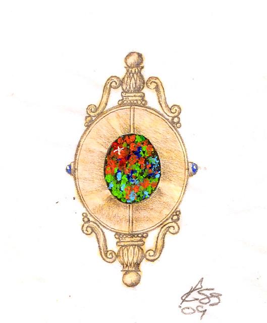 Design Sketch / Rendering for Black Opal Necklace / 4