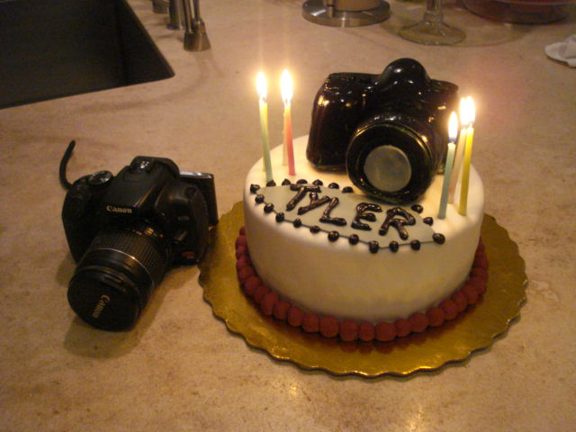 Incredible Camera Cake With Candles Happy Birthday Tyler Flickr Funny Birthday Cards Online Barepcheapnameinfo