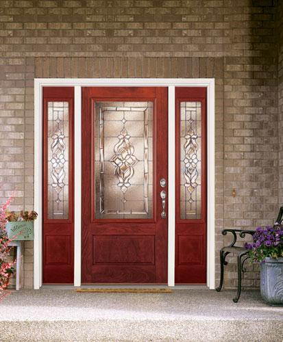 ... Feather River Door Fiberglass Entry Doors   Light Oak Door U0026 Sidelites  W/ A Rectangular