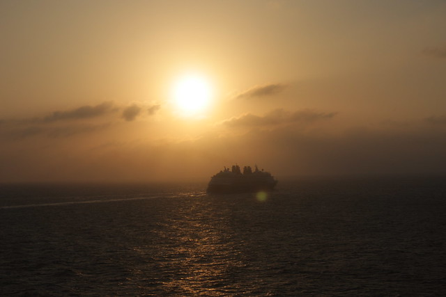 sailing into sunset, leaving Grand Cayman