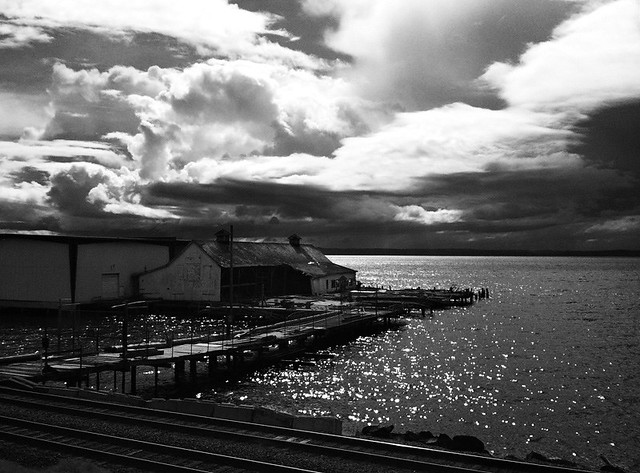 Abandoned marina & clouds over Puget Sound