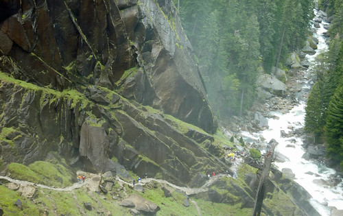 Looking down on hikers climbing the Mist Trail | by Alaskan Dude