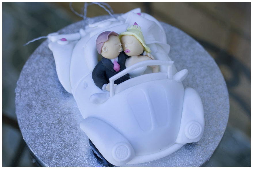 Bride and groom beetle car topper