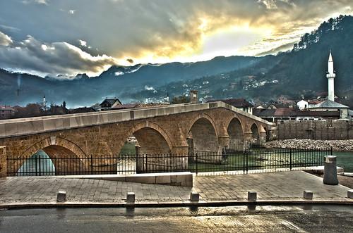 bridge sunrise bosnia herzegovina brücke hdr konjic