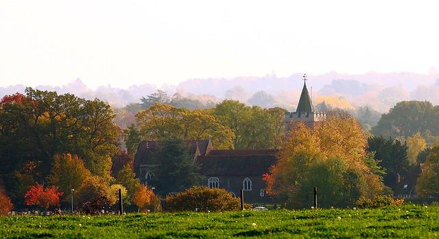 Warfield Church through Autumn Mist