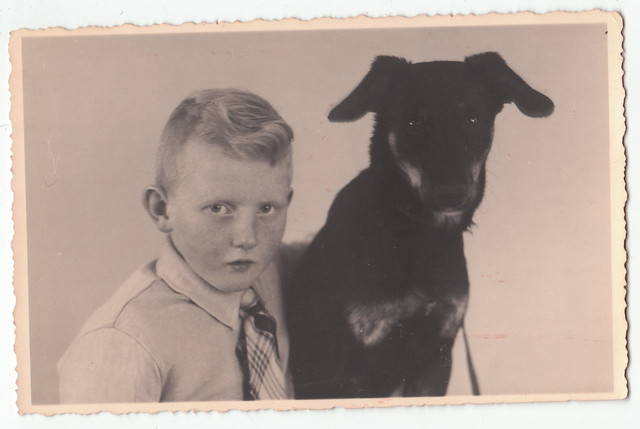 Boy with dog, vintage postcard photo