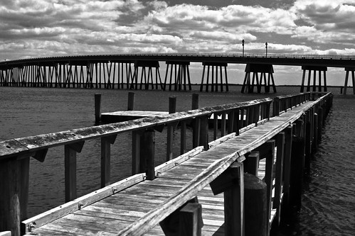 bridge bw monochrome clouds docks canon bay dock md cloudy salt maryland easternshore shore assateagueisland eastern marshland assateague eastcoast delmarva easternshoreofmaryland canon50d