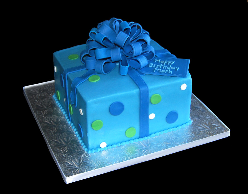 Brilliant Happy Birthday Mark Blue And Green Package Cake With Loo Flickr Personalised Birthday Cards Sponlily Jamesorg