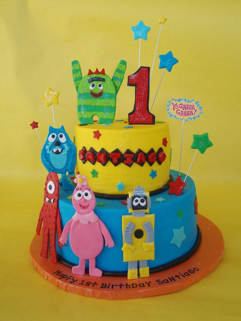 Admirable Yo Gabba Gabba 1St Birthday Cake For A Little Boy Celebrat Flickr Funny Birthday Cards Online Elaedamsfinfo