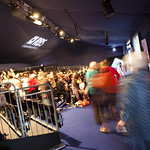 Rushing to get a good seat in the RBS Main Theatre |