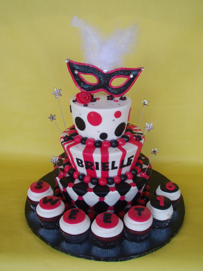 Tremendous Masquerade Themed Sweet 16 Birthday Cake Brielle Had A Hot Flickr Funny Birthday Cards Online Alyptdamsfinfo