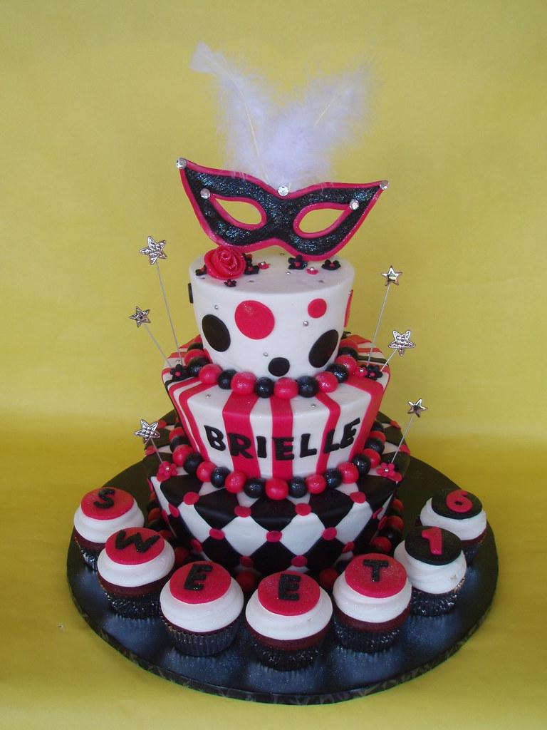 Phenomenal Masquerade Themed Sweet 16 Birthday Cake Brielle Had A Hot Flickr Funny Birthday Cards Online Alyptdamsfinfo