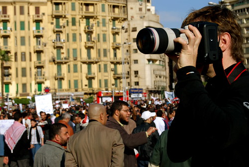 International journalists covering the revolution