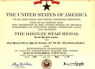 1948 - Jim's 3rd Bronze Star for Action in Sicily, 16th Infantry Regiment