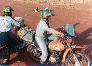 Rendezvous with bikes on mining exploration strip near present day Cotton Creek Community - 1974
