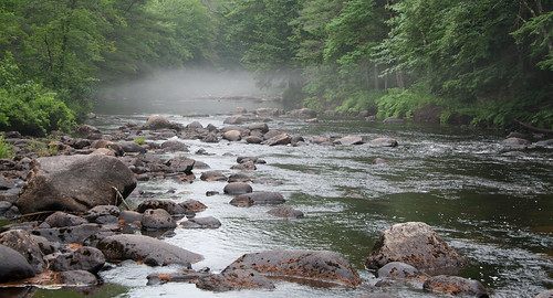 trees mist river rocks stream harrison maine sigma twinbridges eos400d