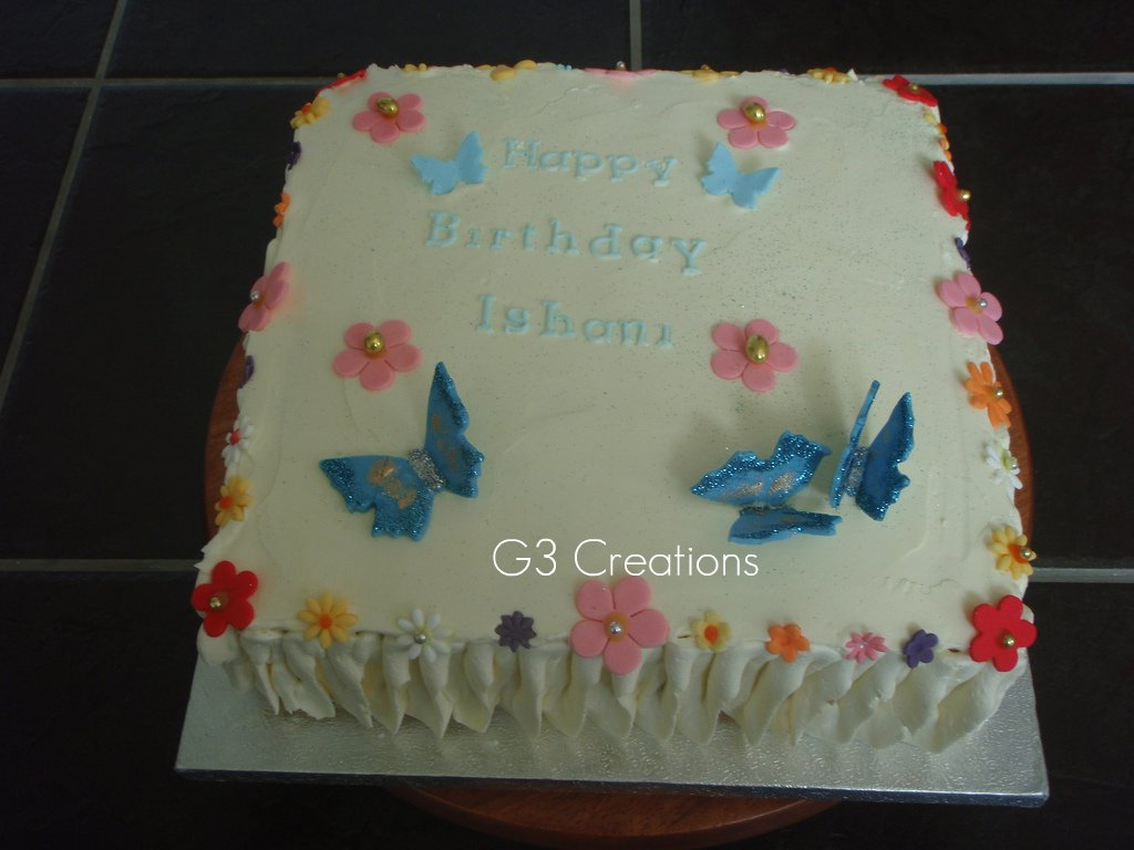 Awesome Butterflies N Flowers Birthday Cake G3Creations Com Ww Flickr Personalised Birthday Cards Beptaeletsinfo