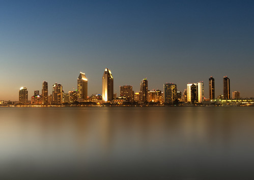 california city blue sunset moon water night marina bay downtown cityscape sandiego