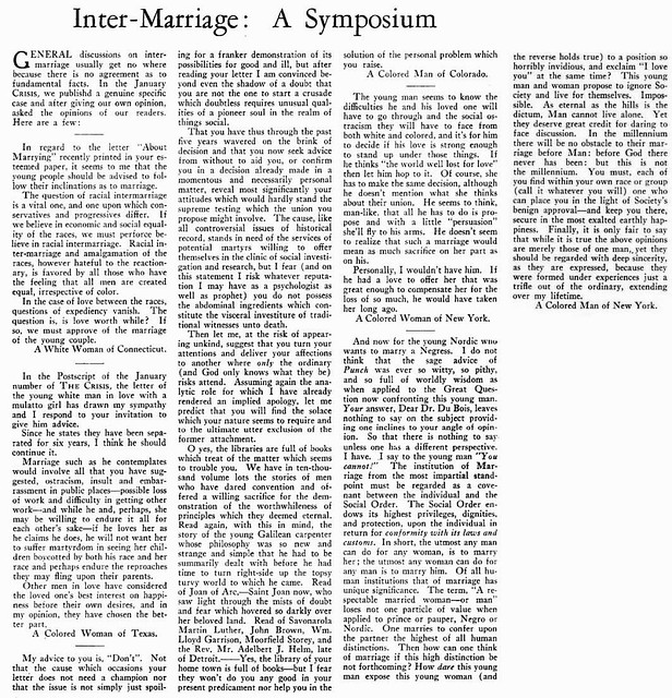 Intermarriage - A Symposium - February, 1930