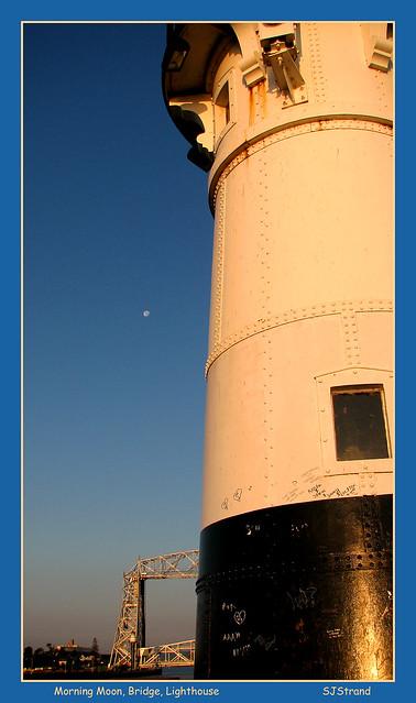 Morning Moon, Bridge, Lighthouse  Duluth MN