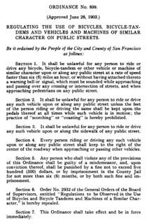 San Francisco bicycle regulations (1903)