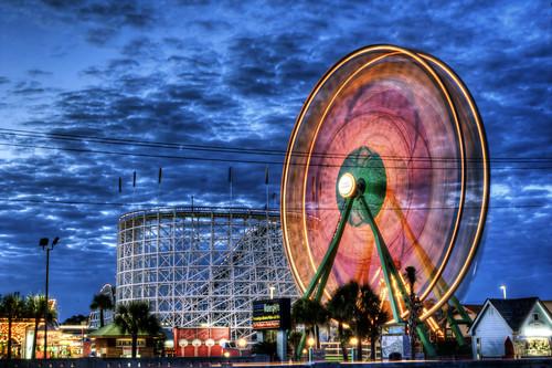 sc southcarolina ferriswheel amusementpark bluehour coaster mb hdr highdynamicrange myrltebeach