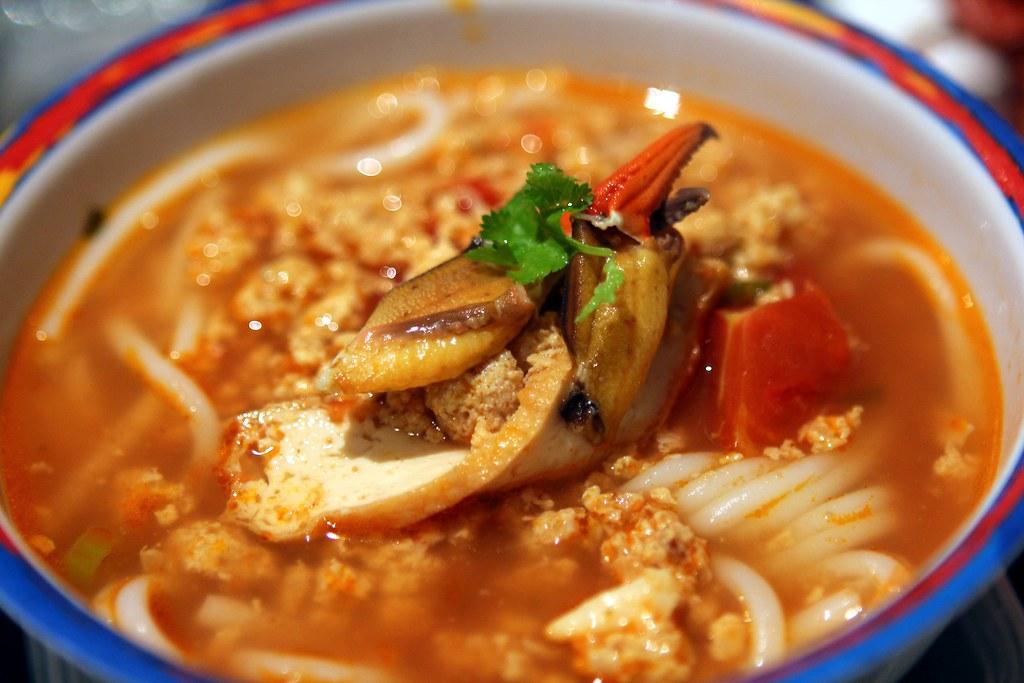 Master Evan's Bún riêu cua (he ate the whole bowl!)