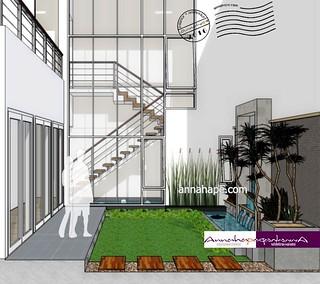 contoh taman mungil dan kolam di belakang rumah | design
