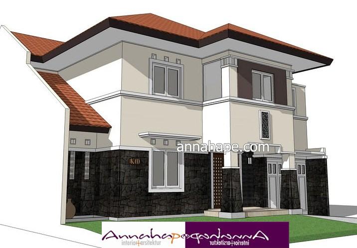 Sketsa Rumah Art Deco Aksen Batu Alam Design by Annahape S…