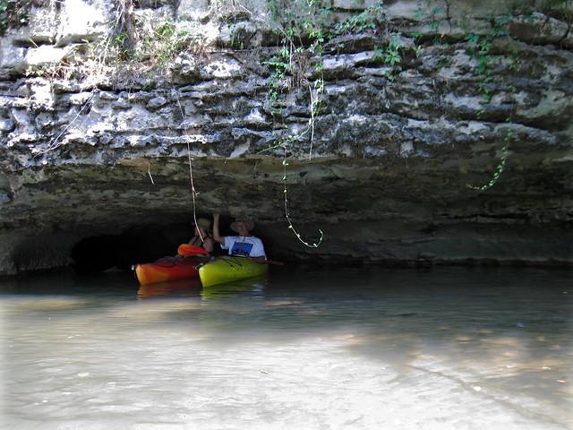 Bill Walter and Sharon Jones, karst feature, Barren Fork River, Warren Co, TN