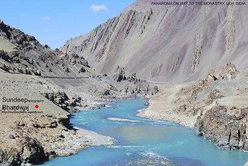 """""""Brown Grey Sand Mountains & Blue Waters"""" in Leh Ladakh on way to Lamayuru Monastry in Kashmir Indian Himalayas 13-10-08 311 mJ by SunDeep Bhardwaj SDB Fine Art Wonders of World gallery Himachal Indian Himalayas 