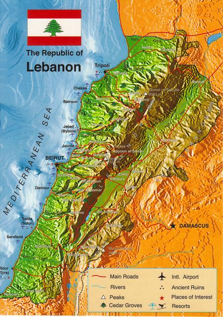 Lebanon Map Postcard