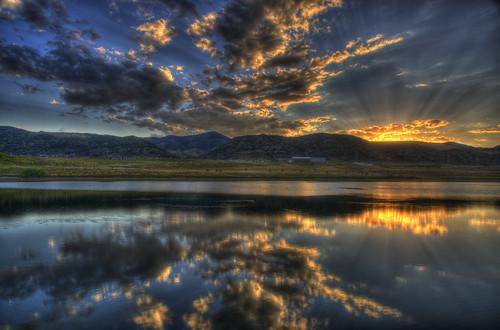 sunset sky mountain lake reflection water clouds landscape football colorado denver hdr littleton eastonpark hinelake 201008 dakotaridgehighschool