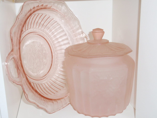 Vintage pink depression glass...frosted cookie jar and large bowl