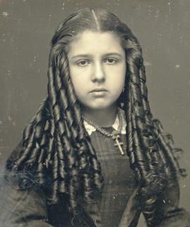 Victorian Teen with Sausage Curls Closeup