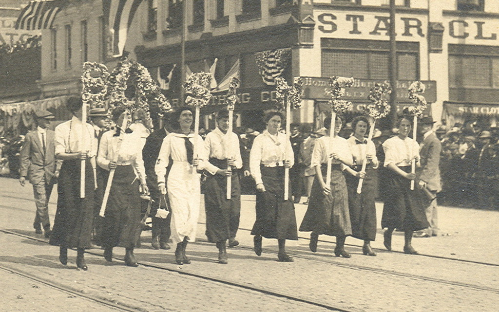 Detroit MI 1913 RPPC Gratiot Avenue Modern Womens Suffrage Movement Parade Equal Rights for Women or Women's Rights Movement Photographer Unknown Photo Tagged 34 Used but Unsent AZo Stamp Box2.