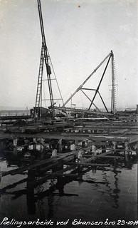 Pælingsarbeide ved Skansenbrua (1914)