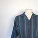 1950s sapphire and charcoal striped blouse