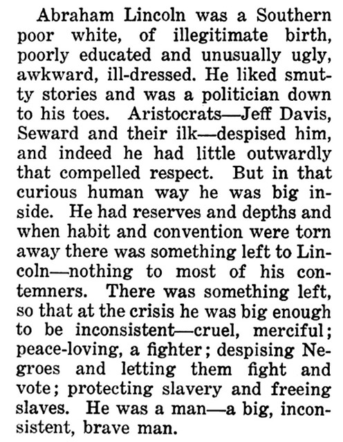 Abraham Lincoln - A Big, Inconsistent, Brave Man - July, 1922